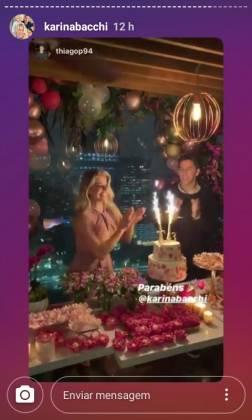 Aniversário karina Bacchi reprodução Instagram stories