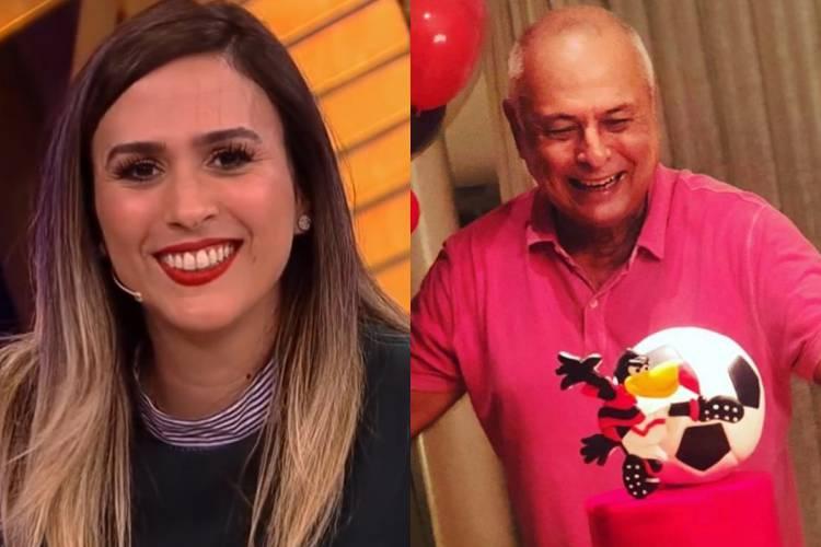 """Tatá Werneck celebra aniversário do pai com bolo do Flamengo e brinca: """"Já dei uma neta, falta dar esse título"""""""