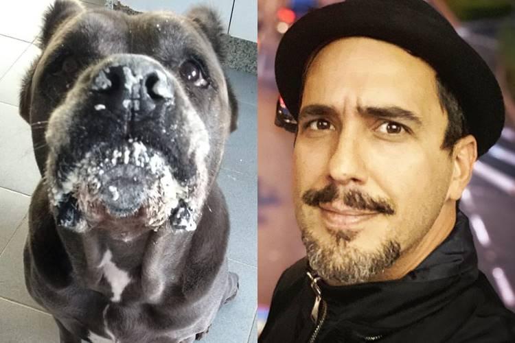 """André Marques mostra a cadela toda suja e brinca: """"Alguém viu o saco de farinha?"""""""