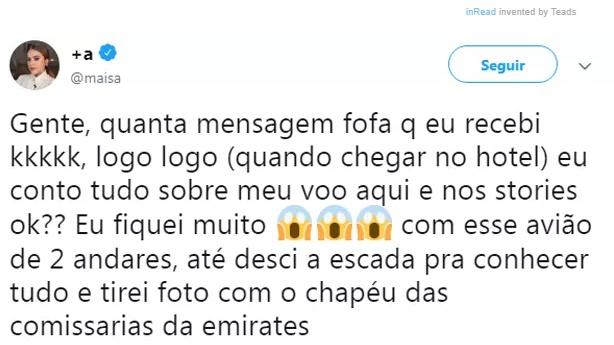 Maisa Silva reprodução twitter