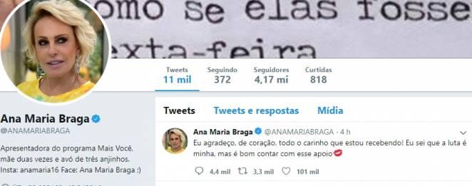 Ana Maria Braga reprodução Twitter
