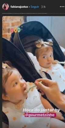 Fabiana e as filhas gêmeas reprodução Instagram