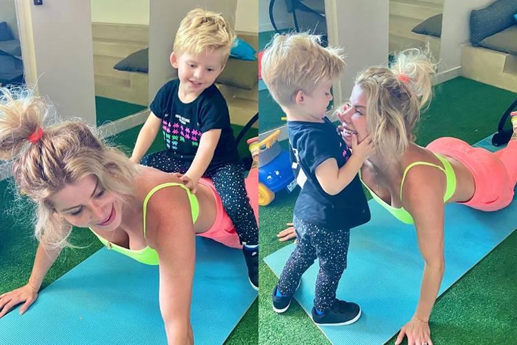 Karina Bacchi mostra companheirismo do filho durante treino em casa