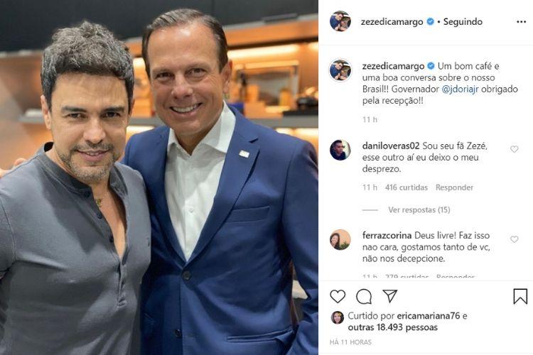 Sertanejo Zezé di Camargo e o governador de São Paulo, onde o músico recebeu inúmeras críticas - Reprodução: Instagram