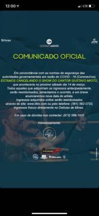 Show de Gustavo Mioto é cancelado nos EUA por causa do Coronavírus
