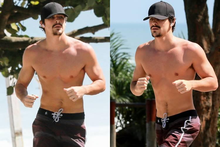 Bruno Montaleone bota corpo para jogo e corre na praia da Barra da Tijuca