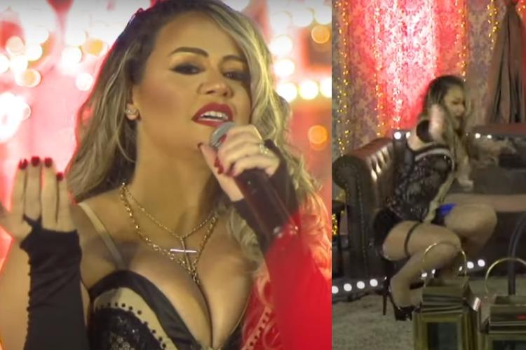 Durante live em 'cabaré', famosa cantora leva tombo e vira motivo de piada