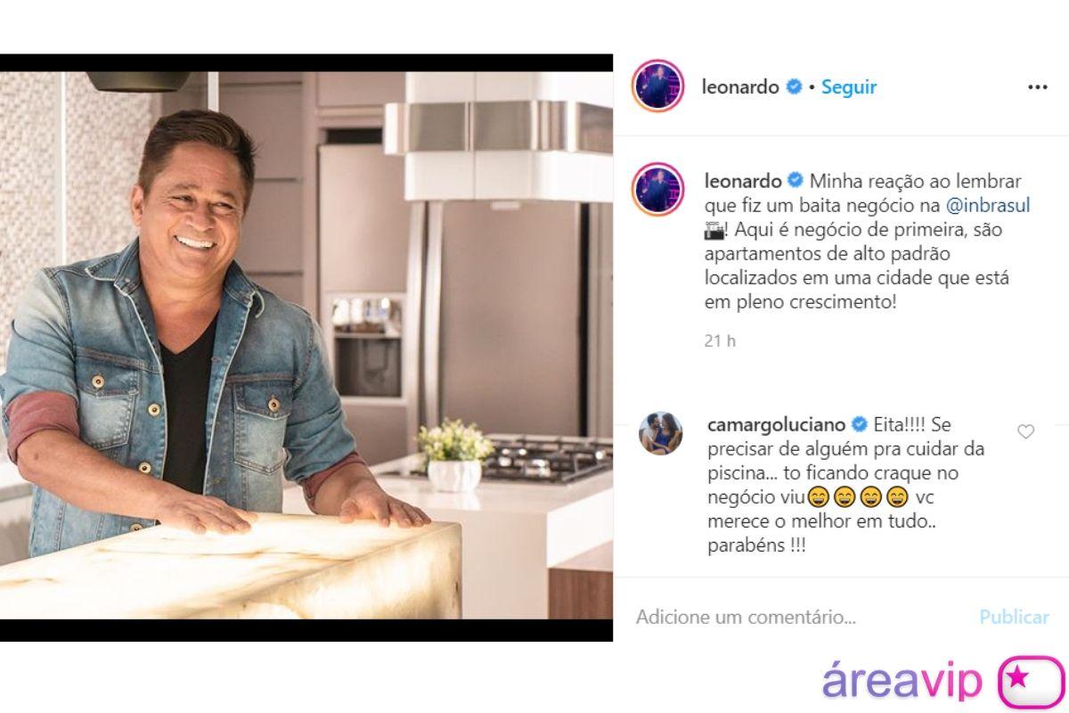 A publicação em que o cantor sertanejo Luciano Camargo falou para Leo sobre as suas novas habilidades - Reprodução: Instagram (Montagem: Área VIP)