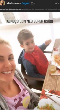 Ana Hickmann surge em momento íntimo com o filho