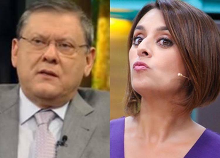 Estressado, Milton Neves reclama ao vivo de Cátia Fonseca na Band