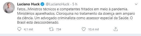 """Luciano Huck detona governo: """"O Brasil está descoordenado"""""""