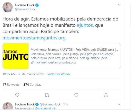 Luciano Huck pede posicionamento do governo em meio à crise do país