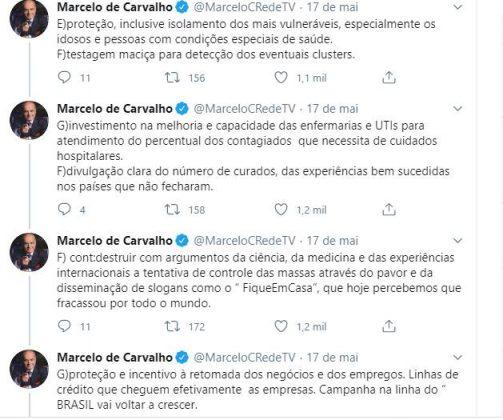 Marcelo de Carvalho defende fim do isolamento social