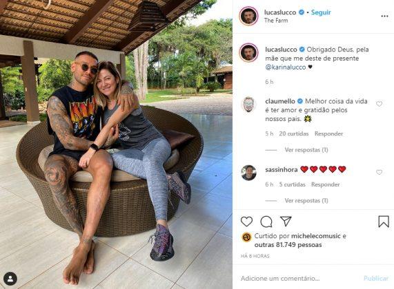 Lucas Lucco e sua mãe Karina reprodução Instagram