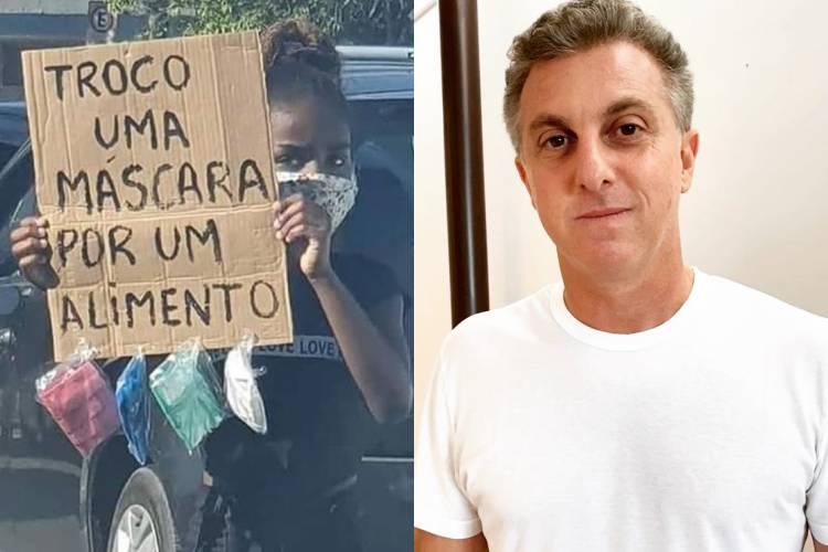 Luciano Huck encontra menina que trocava máscara por alimento no Rio