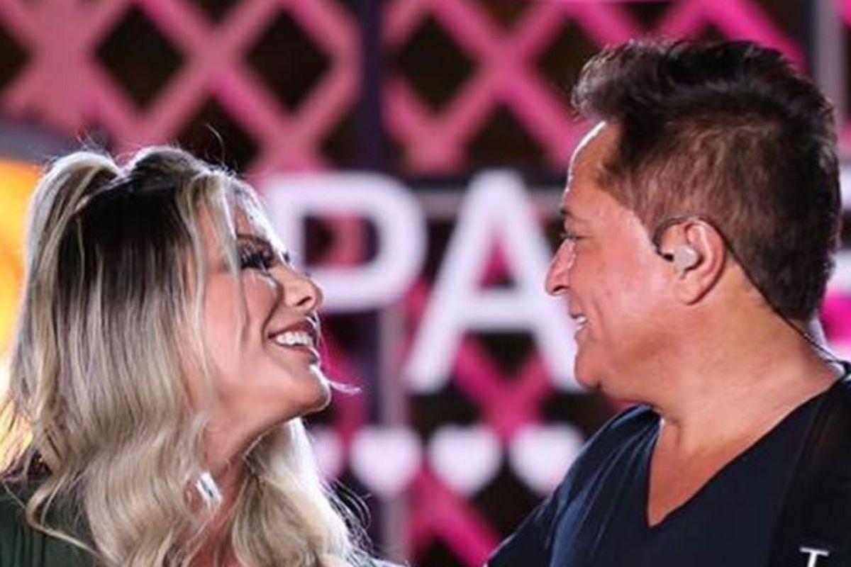 O cantor sertanejo Leonardo e sua esposa, a jornalista Poliana Rocha