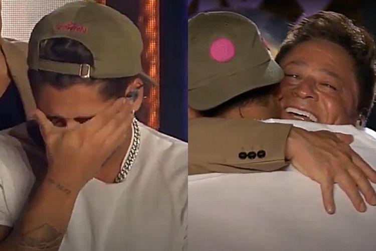 O cantor sertanejo Zé Felipe, indo às lágrimas ao cantar uma música para o seu pai, Leonardo - Reprodução: YouTube (Montagem: Área VIP)