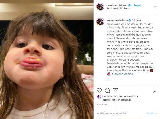 Pietra filho do sertanejo Cristiano reprodução Instagram