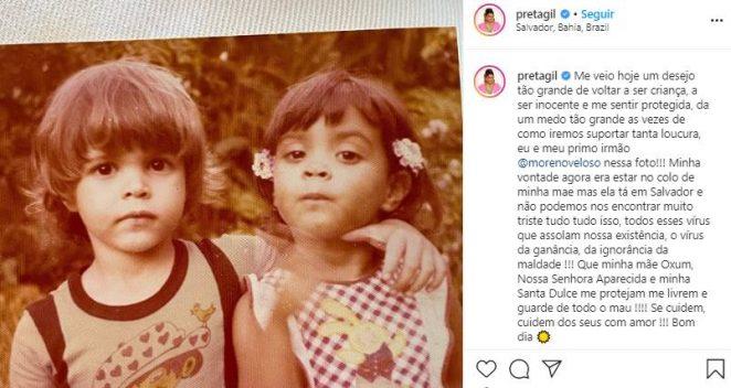"""Preta Gil lamenta ausência da mãe: """"Muito triste"""""""