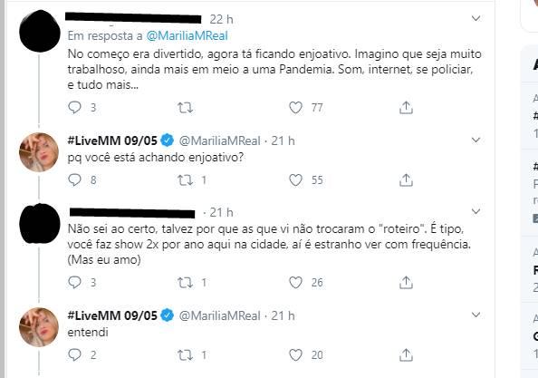 """Internauta responde Marília Mendonça e diz que lives estão ficando """"enjoativas"""""""