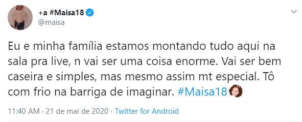 """Maisa faz revelação sobre festa de aniversário: """"Frio na barriga"""""""