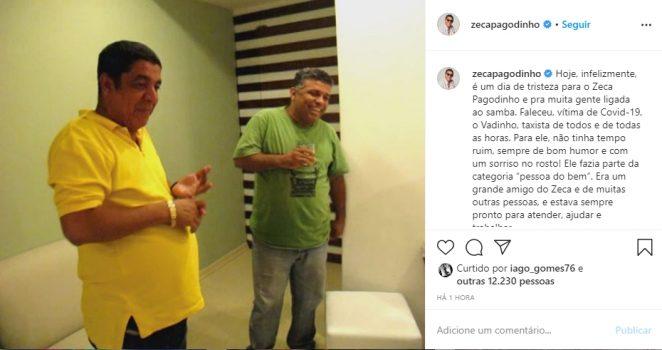 Zeca Pagodinho e seu amigo Vadinho reprodução Instagram