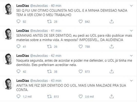 """Léo Dias é demitido e culpa Anitta: """"Mais uma maldade"""""""