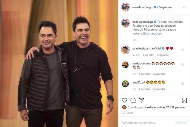 Sertanejo Zezé Di Camargo e irmão Werley ( Camarguinho) reprodução Instagram