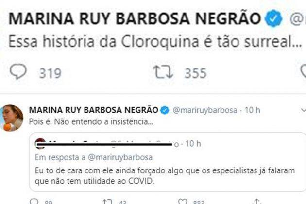 Marina Ruy Barbosa lamenta indicação de presidente Bolsonaro para que população use cloroquina