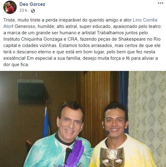Ator Deo Garcez e Lino Correa foto reprodução Facebook