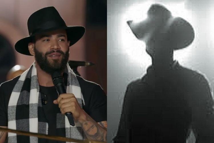 O cantor sertanejo Gusttavo Lima e uma silhueta representando um músico de seu estilo - Reprodução: Instagram (Montagem: Área VIP)