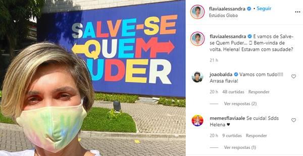 Flávia Alessandra retorna aos estúdios Globo para gravar 'Salve-se Quem Puder'