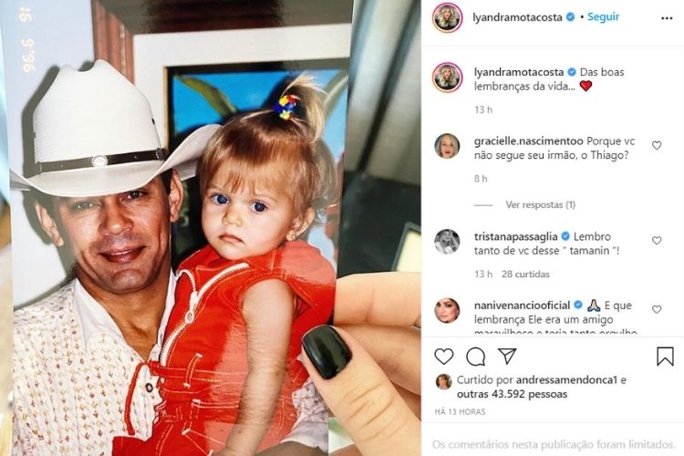 A foto compartilhada pela filha do cantor sertanejo que é falecido - Reprodução: Instagram (Montagem: Área VIP)