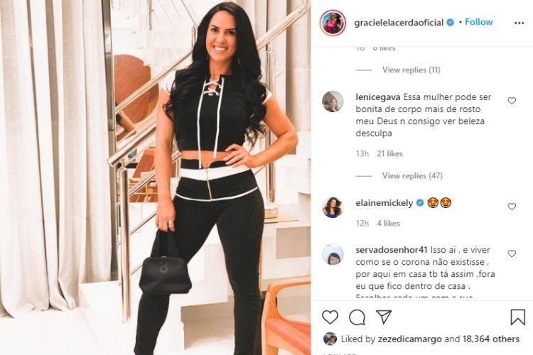 A foto e o comentário na foto de Graciele Lacerda - Reprodução: Instagram