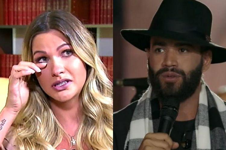Andressa Suita e o cantor sertanejo Gusttavo Lima, seu ex-marido - Reprodução: TV Record e YouTube (Montagem: Área VIP)