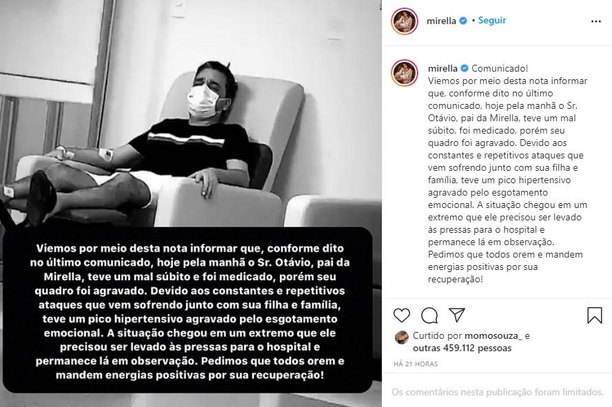 Comunicado da equipe de Mirela Instagram