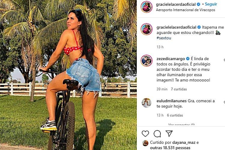 Graciele Lacerda, na imagem compartilhada que deixou o artista de queixo caído - Reprodução: Instagram (Montagem: Área VIP)