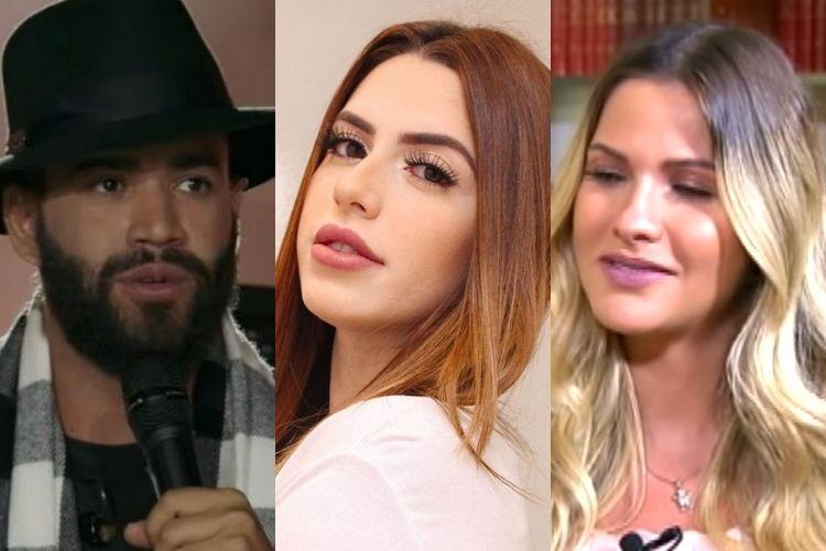 Gusttavo Lima, a modelo e Andressa Suita - Reprodução: Instagram, TV Record e YouTube (Montagem: Ára VIP)