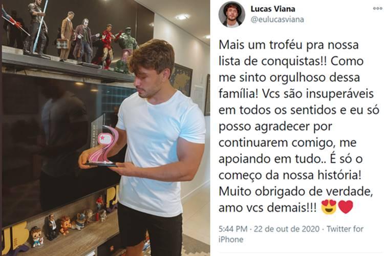 Lucas Viana faz agradecimento ao receber Troféu Área VIP/Twitter