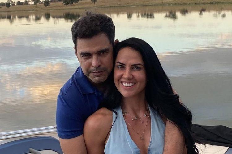 O cantor sertanejo Zezé di Camargo e a noiva aniversariante - Reprodução: Instagram