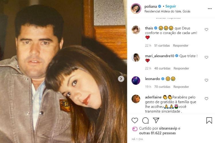 O comentário feito pelo cantor sertanejo na foto compartilhada por sua esposa, a jornalista e empresária Poliana Rocha - Reprodução: Instagram (Captura: Área VIP)