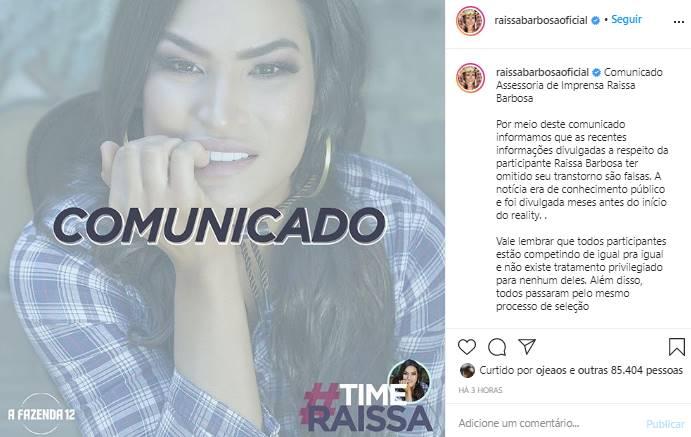 A Fazenda 12: Assessoria de Raíssa Barbosa emite comunicado após polêmicas - Foto: Reprodução/Print do Instagram@raissabarbosaoficial