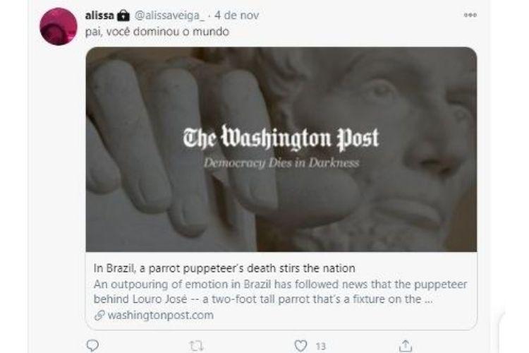 A publicação da filha do Louro José - Reprodução: Twitter