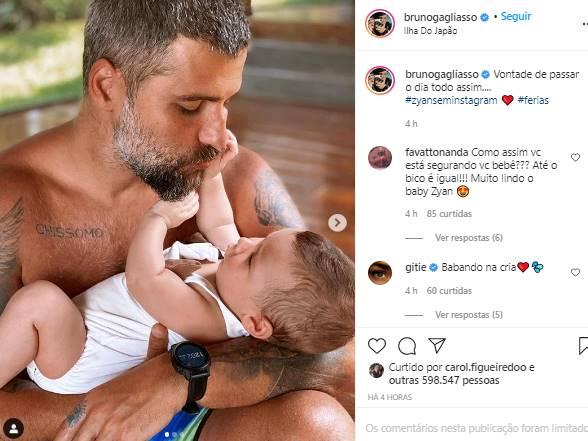 Bruno Gagliasso mostra momento fofo com Zyan: ''vontade de passar o dia assim''- Foto: Reprodução/Instagram@brunogagliasso