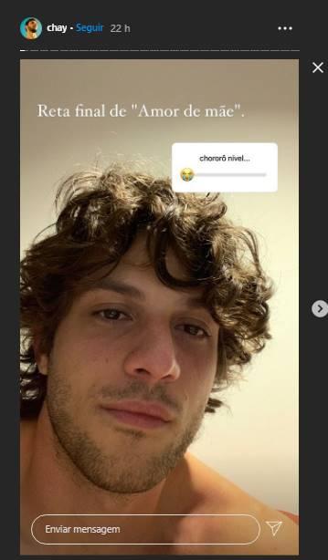Chay Sued publica foto emocionado em reta final de gravações da novela 'Amor de Mãe': ''Chororô'' - Foto: Reprodução/Instagram Print Stories @chay