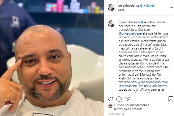 Geraldo Luís aparece com a cabeça enfaixada: ''A vida é feita de decisões'' - Foto: Reprodução/IPrint nstagram@geraldobalanca