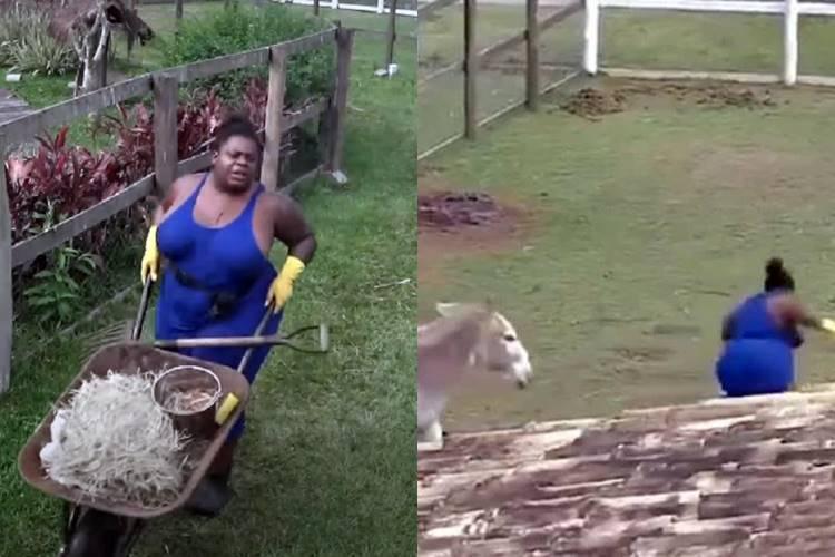A Fazenda 12: Jojo Todynho vira meme após se assustar com jumenta - Foto: Reprodução/PlayPlus/Montagem Área VIP