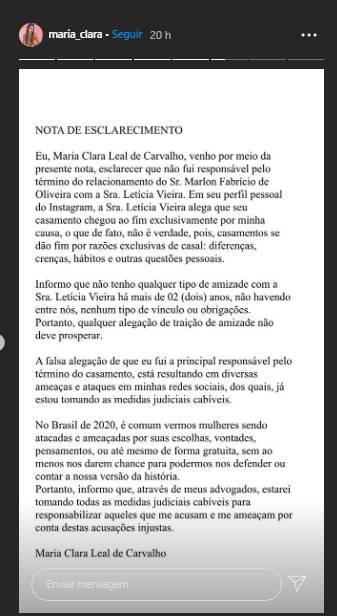 Suposto affair do sertanejo Marlon nega ser pivô de término - Foto: Reprodução/Instagram@maria_clara