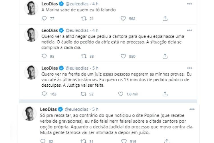 Os tweets de Leo Dias - Reprodução: Twitter