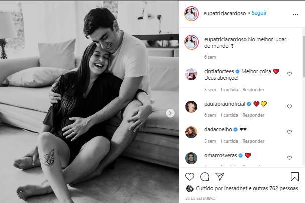 Esposa de Marcelo Adnet exibe barrigão e celebra nono mês de gestação: ''doce espera'' - Foto: Reprodução/Instagram@eupatriciacardoso